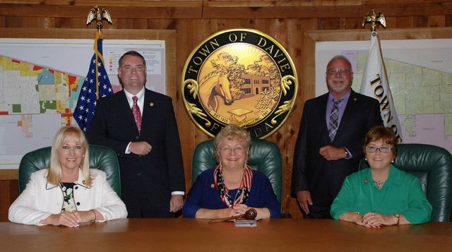 Mayor and Town Council. sitting and standing in council chambers